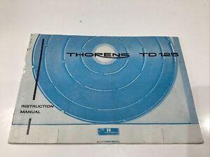 THORENS TD125MKI INSTRUCTION MANUAL BOOK IN ENGLISH TURNTABLE