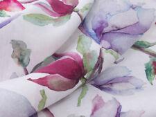 0,5 M Kleiderstoff  Leinen Stoff Digitaldruck Magnolien Blumen, sanforisiert