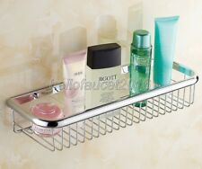 45cm Chrome Brass Wall Mounted Kitchen Bath Shower Shelf Storage Basket