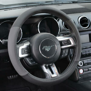 BDK Gray Black Two Tone Faux Leather Steering Wheel Cover For Car Van SUV