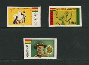 G050 Ghana 1967 Scoutisme Imperf 3v. MNH