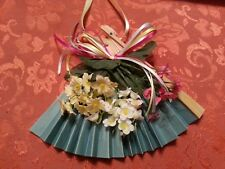 "Oriental fan with flowers and a bow for hanging decor  6 1/2"" tall x 9 1/2"" wide"
