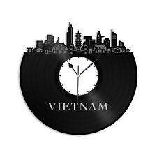 Vietnam Vinyl Wall Clock City Skyline Vintage Bedroom Office Home Decoration