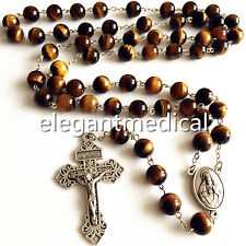 XL10MM Tiger Eye Beads ROSARY CROSS Catholic Necklace Men's Women Religion GIFT