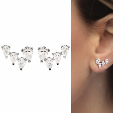 925 Sterling Silver Pin CZ Crystal Stars  Post Pear Drop Bridal Earrings Girls