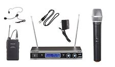 GTD Audio VHF Handheld  Headset Lavalier Mic Wireless Microphone System V-28HL