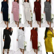 Women Cable Knitted Tie Waist Band Fine Knit Side Pocket Long Midi Dress