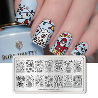 BORN PRETTY Nagel Kunst Schablone Rectangle Nail Stamp Image Plate Christmas