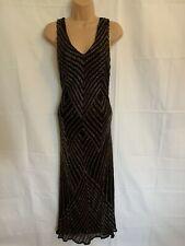 JACQUES VERT 12 Black Silk Beaded Embellished Cocktail Party Dress GATSBY