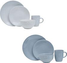 Embossed Heart 16Pc Dinner Set Grey White Side Dinner Plates Bowls Mug Stoneware