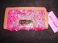 "Betsey Johnson Zip Around Wallet ""Pretty Girl"" Gold Pink Satin Flowers  - last"