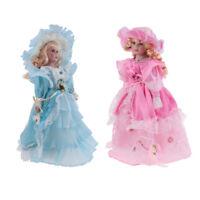 40cm Victorian Porcelain Doll with Light Blue & Pink Dress Home Decoration