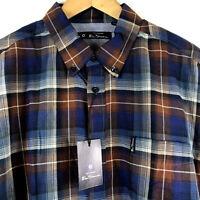 Ben Sherman Mens ZUMA Long Sleeve Ombre Check Woven Shirt BA18F53098 Coffee $69