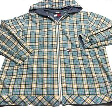 Tommy Hilfiger Plaid Jacket Zip Women's M L XL Hooded Blue Teal Yellow