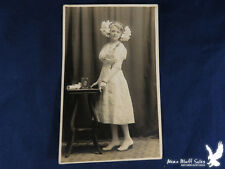 RPPC Young Girl Confirmation? Portrait Bible Scroll HUGE BOWS IN HAIR