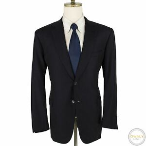 LNWOT CURRENT Brioni Navy Wool Self Striped Top Stitch Dual Vents 2Btn Suit 44R