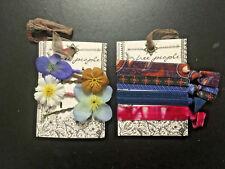 Free People lot 4 silk flower bobby pins 4 hair elastic ties-NWT NEW