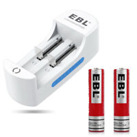 2x 18650 3000mAh 3.7V Li-ion Rechargeable Batteries + EBL DUAL Battery Charger