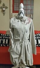 womens oilily long jacket zip snap khaki tan embroidered size 34 S/M NWOT!