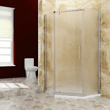 "SUNNY SHOWER Neo-Angle Corner Frameless Shower Door 36 3/5"" Obscure Glass Panels"