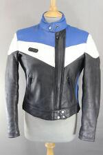 VINTAGE 1980's STEIN LEATHERS BLACK, BLUE & WHITE LEATHER BIKER JACKET: SIZE 10
