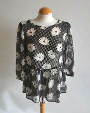 Ladies Atmosphere Black Daisy Sunflower Spotted Peplum Floaty Blouse Top 10 UK