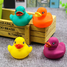 New 4 PCS  Rubber Coloured Ducks Fun Kids Bath Squeaky Toy Bath Time Baby Duck