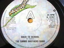 """THE SIMMS BROTHERS BAND - BACK TO SCHOOL   7"""" VINYL"""
