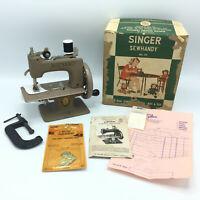 Vtg Singer No.20 Sew Handy Sewing Machine w/Box Clamp Instruction Book & Receipt
