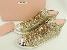 Miu Miu Studded Leather High Top Sneakers Shoes UK8.5 41.5-Great Gift!