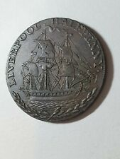 UK Great Britain Liverpool Copper Half Penny Token 1792 XF