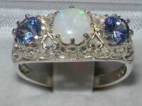 Solid Sterling Silver Genuine Opal & Tanzanite English Filigree Trilogy Ring