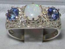 Solid Sterling Silver Genuine Opal & Tanzanite English Filigree Trilogy Ring