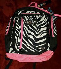 "Trans Jansport Backpack 15"" Laptop Tablet Sleeve Zebra Print Ergonomic Strap New"