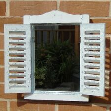 White Mirror with Shutters Shabby Garden Decor Vintage Chic Home Accessory Gift