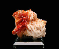 Natural Raw Red Vanadinite on Barite Crystal Cluster Rock Stone Mineral, Morocco
