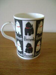 Harrods Scottie & Westie black and white mug 4'' high