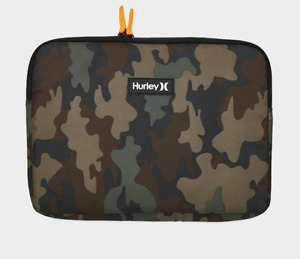 Hurley Laptop Case Authentic 14 Inch Signature Soft Two Way Zip Green Camouflage