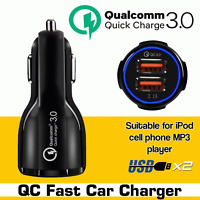 Quick Charge 3.0 Car Charger 2 Ports USB Qualcomm QC Fast Dual Adapter iPhone