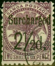 Samoa 1898 2 1/2d on 2s6d Deep Purple SG87 Fine Used
