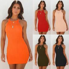 Fashion Women Sleeveless Ribbed Long Tops Bodycon Evening Party Short Mini Dress
