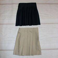 Lot of 2 French Toast school uniform skirts girls size 5 navy blue tan adj waist