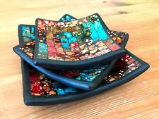Beautiful Mosaic Handmade Ceramic Glass Tile Bowl Dish Fruit Decoration Sq Set 3
