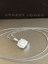 Ernest Jones 9ct White Gold Halo Square Diamond Necklace 0.50ct Pendant Chain