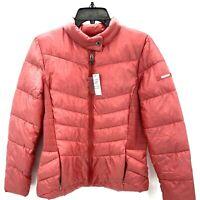 Via Spiga Womens Medium Puffer Jacket Light Red Coat Packable NWT