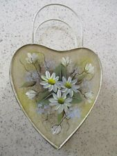 VINTAGE, TIN, HEART, WALL POCKET, HAND PAINTED DAISY DESIGN, LARGE