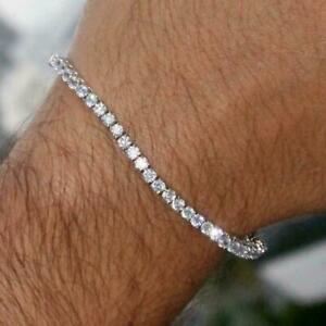 10ct White Round Diamond 1 Row Men's Tennis Bracelet 14k White Gold Over