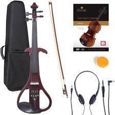 NEW 4/4 Ebony Electric Violin w/Pickup-Mahogany,Style-4