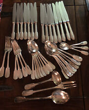"43 Pc Christofle For Cartier Silver Plated Flatware ""Cluny"" Pattern - Serving"