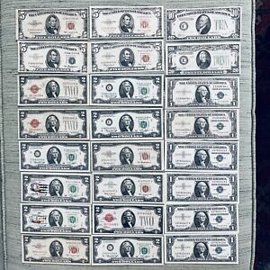 great lot of vintage us paper money bills $1 $2 $5 $10 $20 mixed years